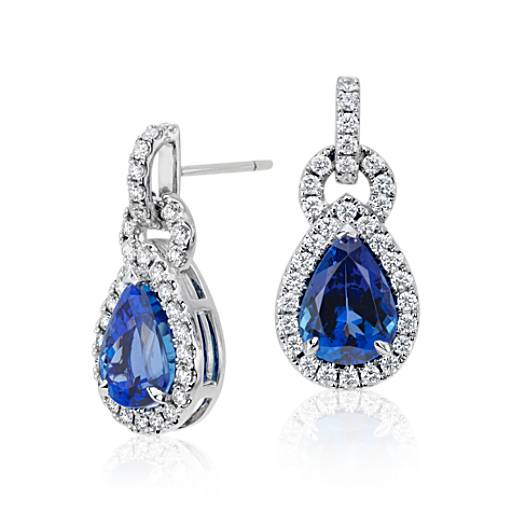 Pear Shape Tanzanite and Diamond Link Earrings in 18k White Gold (6.68 ct tw) (11x8mm)