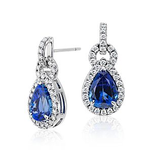 Pear Shape Tanzanite and Diamond Link Earrings in 18k White Gold (6.68 ct. tw. center)
