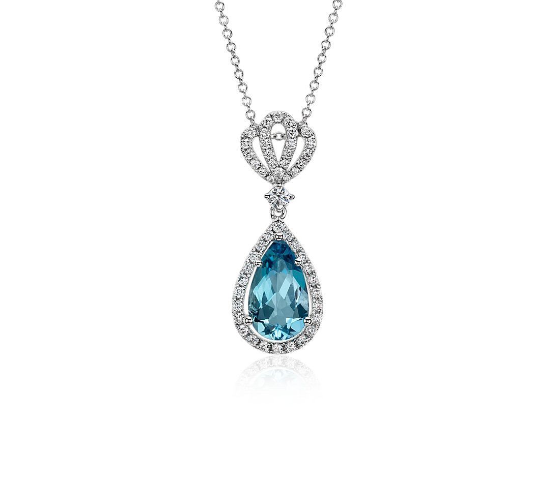 Aquamarine Pave Crown Diamond Halo Drop Pendant in 18k White Gold