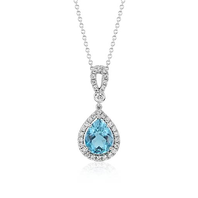 Colgante de aguamarina y halo de diamantes en forma de lazo en oro blanco de 18k ( (2.14 qt)