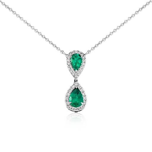 Pear-Shaped Emerald and Diamond Classic Drop Pendant in 18k White Gold