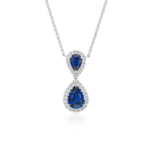 Pear-Shaped Sapphire and Diamond Classic Drop Pendant in 18k White Gold (8x6mm)