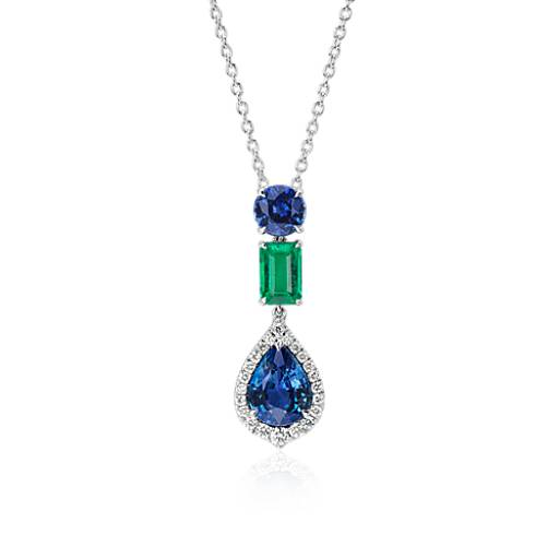 NEW Pear-Shaped Halo Sapphire with Emerald Drop Pendant in 18k White Gold