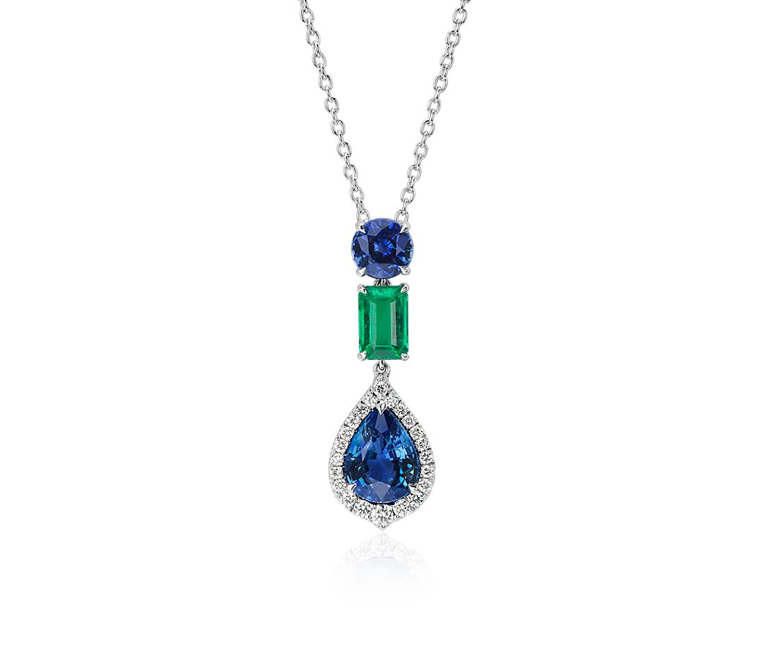 pear shaped halo sapphire with emerald drop pendant in 18k