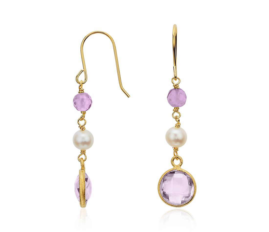 Freshwater Cultured Pearl and Amethyst Earrings in Gold Vermeil