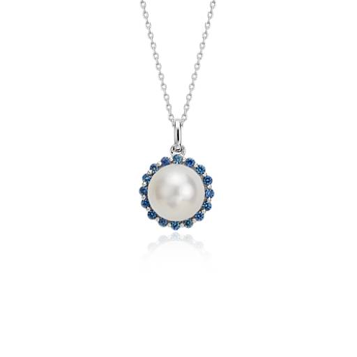 NEW Freshwater Cultured Pearl and Sapphire Pendant in 14k White Gold (8mm)