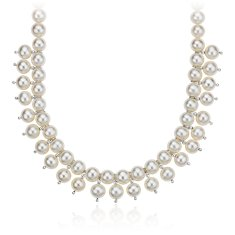 Freshwater Cultured Pearl Bib Necklace in Sterling Silver