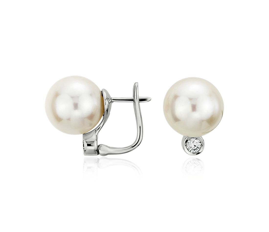 Freshwater Cultured Pearl and Bezel Set Diamond Earrings in 18k White Gold