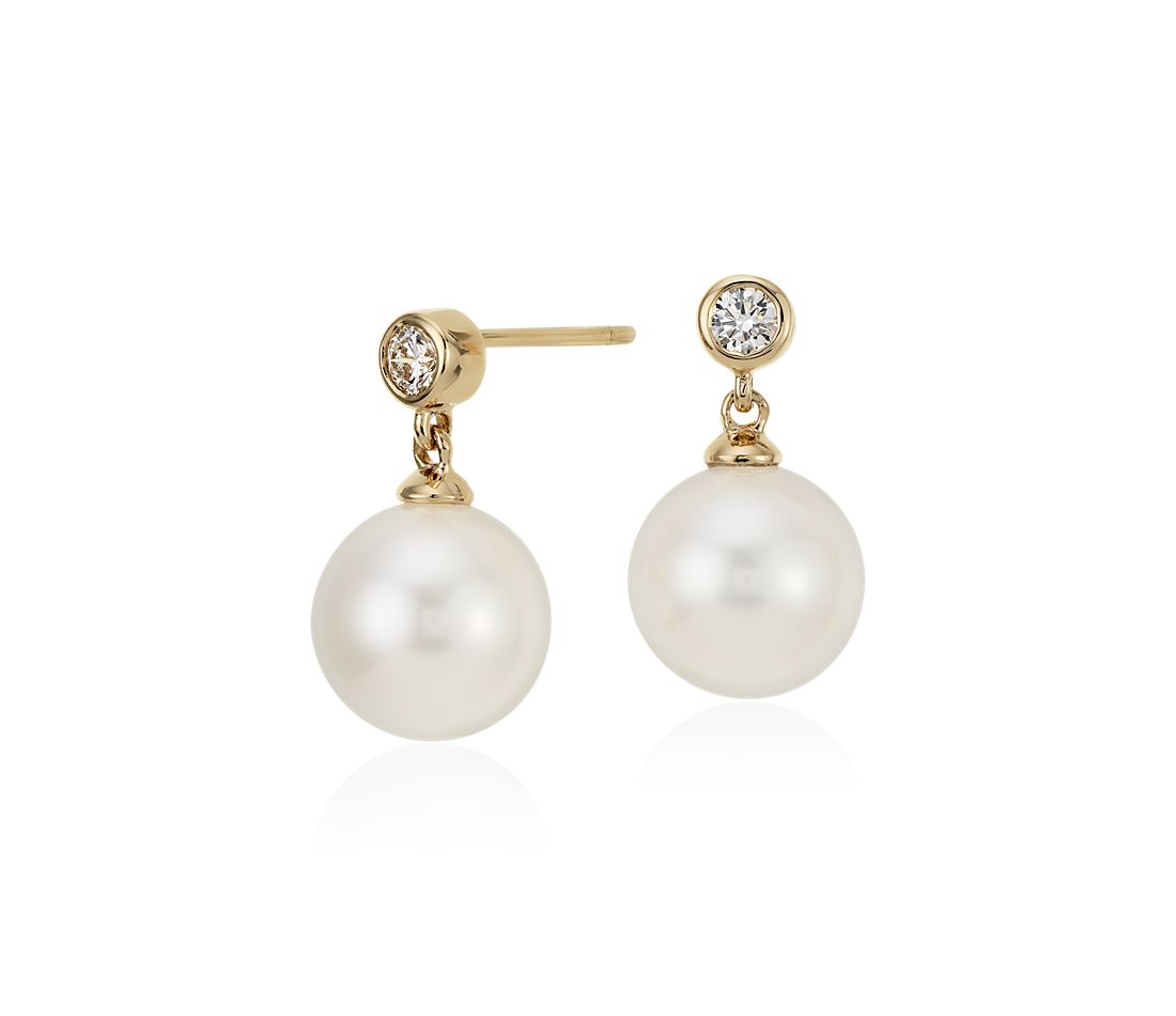 Freshwater Cultured Pearl and Bezel-Set Diamond Earrings in 18k Yellow Gold