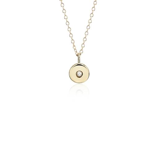 NEW Mini Pearl Birthstone Charm Pendant in 14k Yellow Gold - June (2mm)
