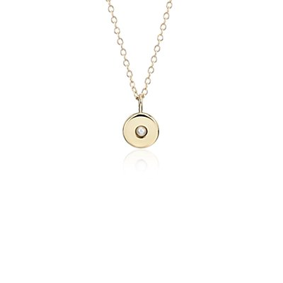 Mini Pearl Birthstone Charm Pendant in 14k Yellow Gold - June (2mm)