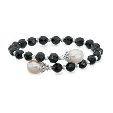 Pearl, Black Onyx and Sparkle Bead Cuff Bracelet with Sterling Silver