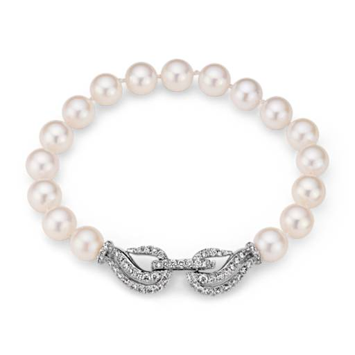 Monique Lhuillier Akoya Cultured Pearl and Diamond Bracelet in 18k White Gold (7.0-7.5mm)