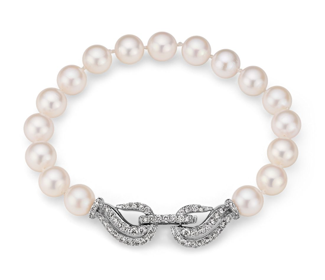 Akoya Cultured Pearl and Diamond Bracelet in 18k White Gold (7.0-7.5mm)