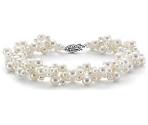 Freshwater Cultured Pearl Woven Bracelet with 14k White Gold
