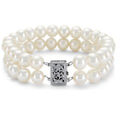 Bracelet de perles de culture d'eau douce double rang avec Or blanc 14 ct (7-7,5 mm)