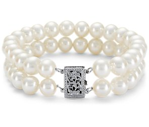Double-Strand Freshwater Cultured Pearl Bracelet with 14k White Gold (7.0-7.5mm)