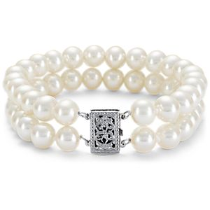 Double-Strand Freshwater Cultured Pearl Bracelet with 14k White Gold (7.0-7.5 mm)