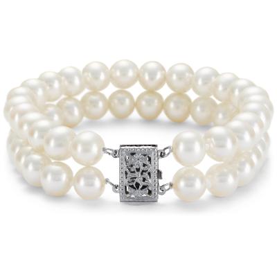 Brazalete de doble vuelta de perlas cultivadas de agua dulce en oro blanco de 14k (7,0-7,5 mm)