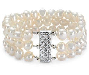 Three-Strand Baroque Freshwater Cultured Pearl Bracelet with Sterling Silver (7.5-8.5mm)