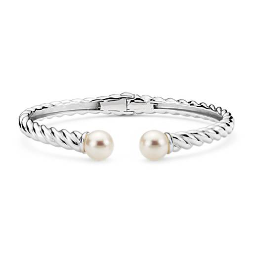 NEW Freshwater Cultured Pearl Twisted Cuff Bracelet in Sterling Silver (7mm)