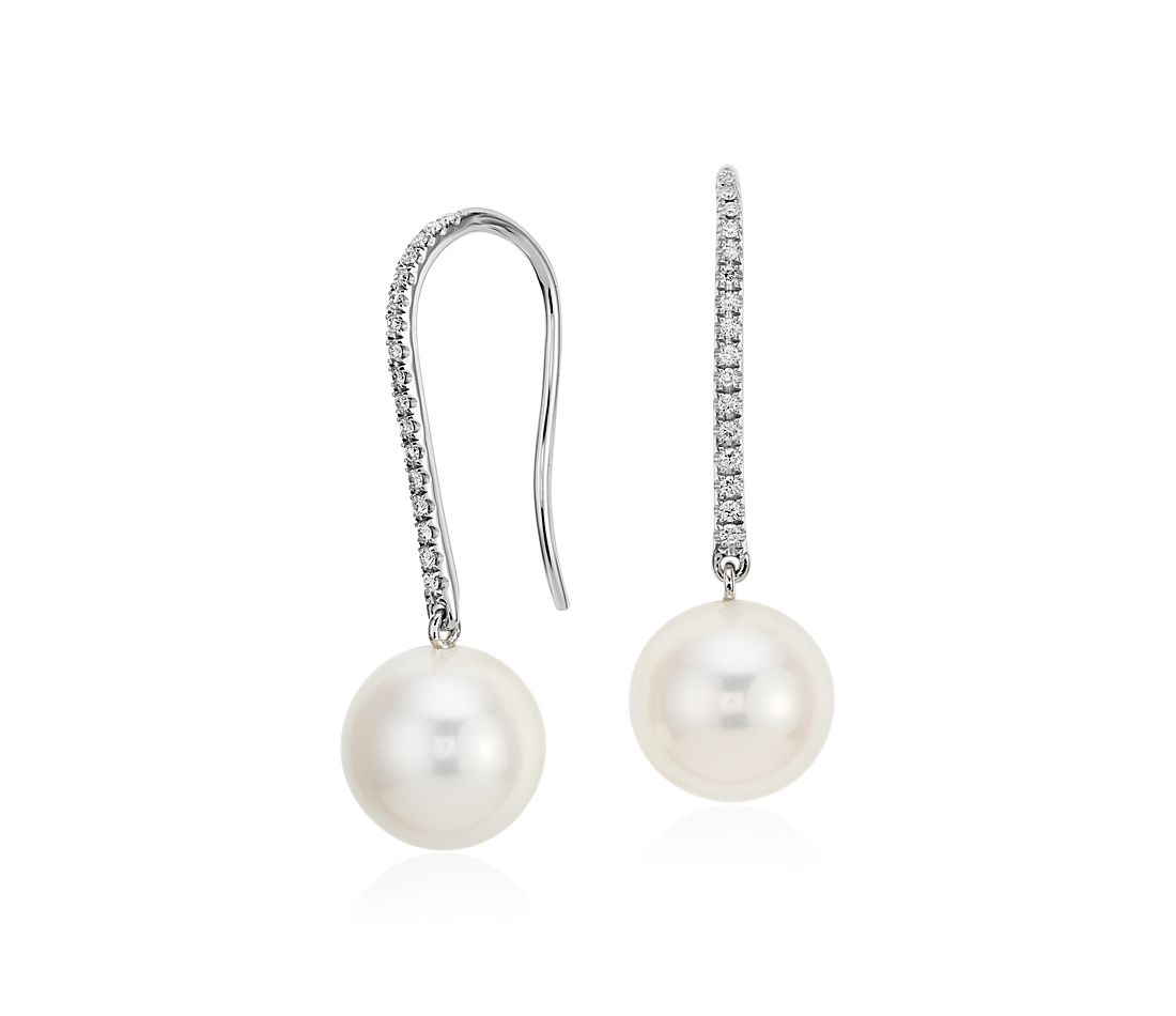 Freshwater Cultured Pearl and Diamond Bar Drop Earrings in 14k White Gold
