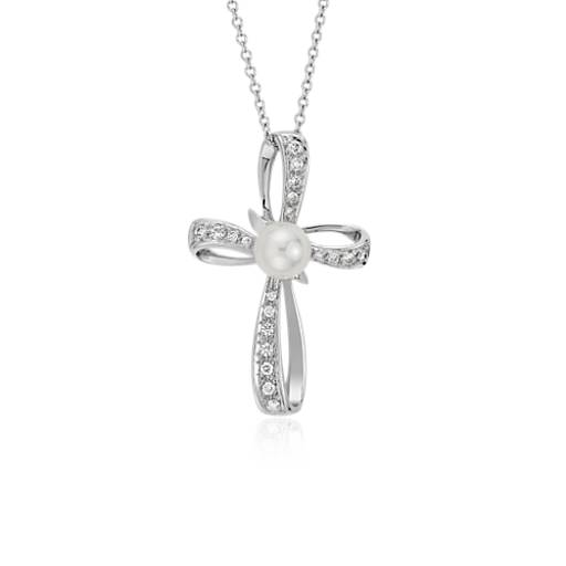 Akoya Cultured Pearl and Diamond Cross Pendant in 18k White Gold