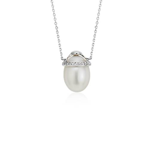 White Freshwater Pearl and Diamond Pendant in 14k White Gold (9mm)