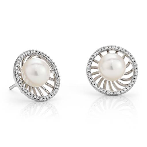 Vintage-Inspired Freshwater Cultured Pearl and Diamond Earrings in 18k White Gold