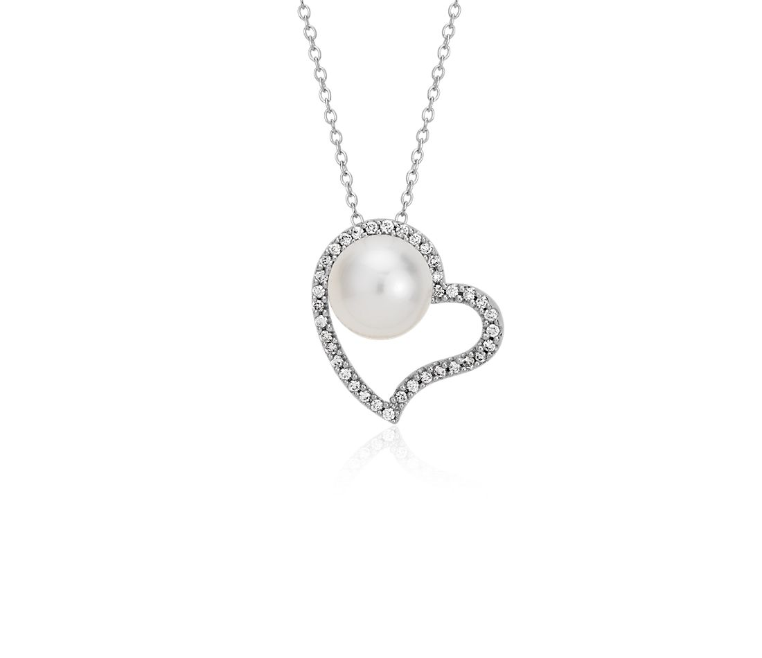 Freshwater Cultured Pearl and Diamond Heart Pendant in 14k White Gold