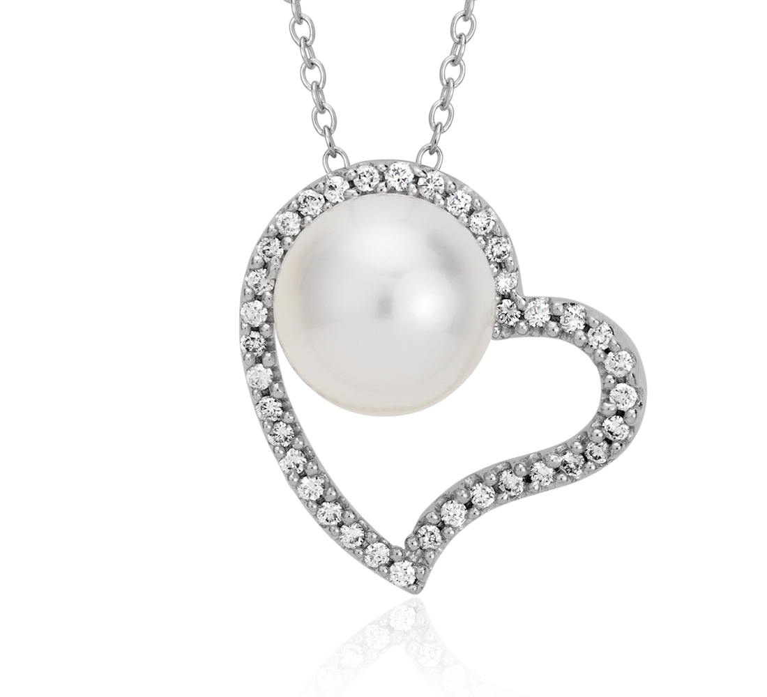 Freshwater Cultured Pearl and Diamond Heart Pendant in 14k White Gold (8mm)