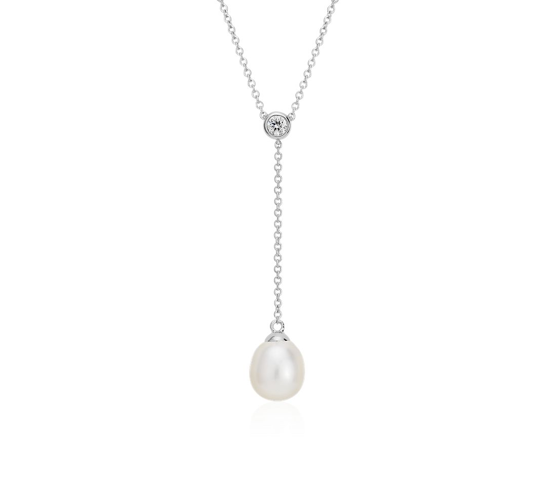 Freshwater Cultured Pearl and Diamond Y-Necklace in 14k White Gold (7.5mm)