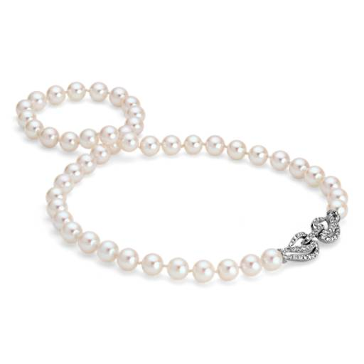 Akoya Cultured Pearl and Diamond Necklace in 18K White Gold