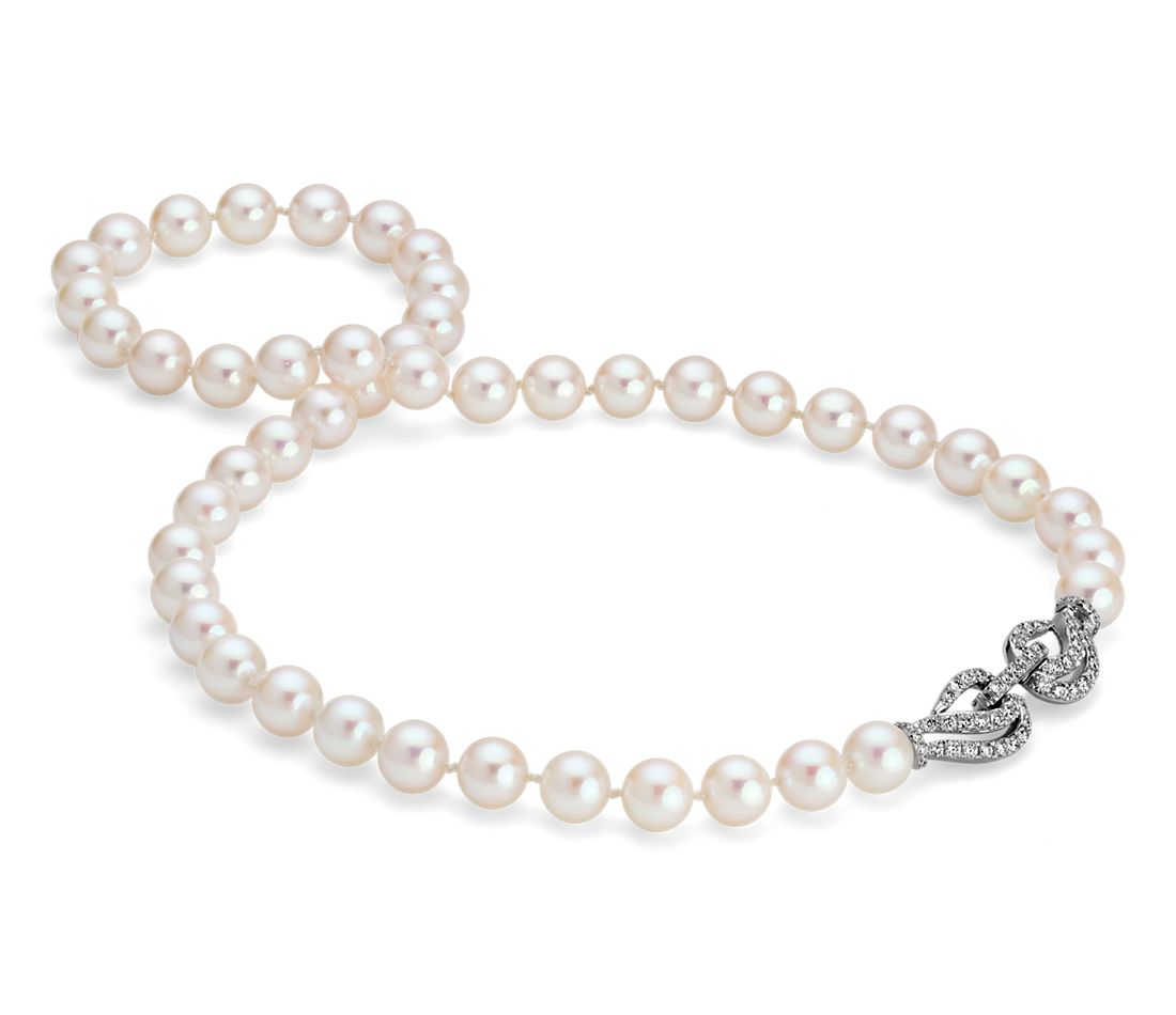 Monique Lhuillier Akoya Cultured Pearl and Diamond Necklace in 18K White Gold