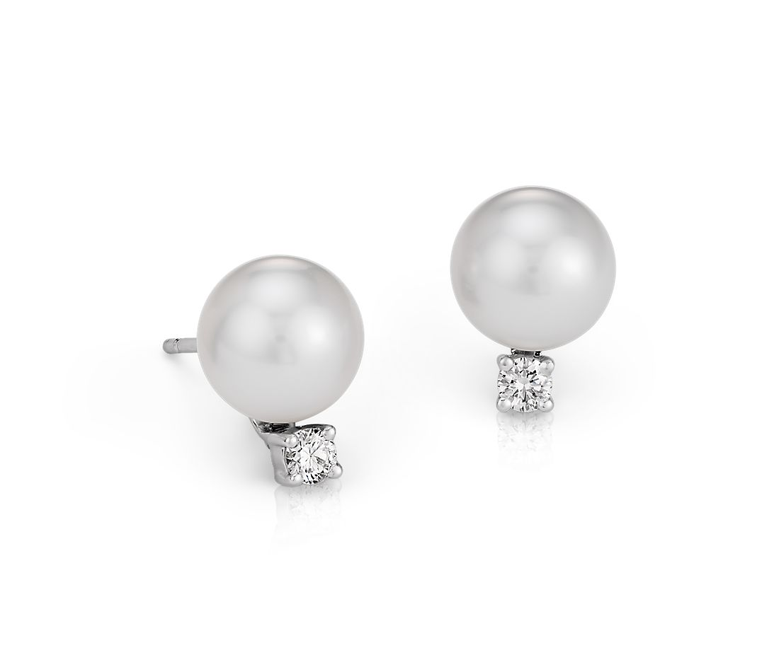 South Sea Cultured Pearl and Diamond Stud Earrings in 18k White Gold (9.0-9.5mm)