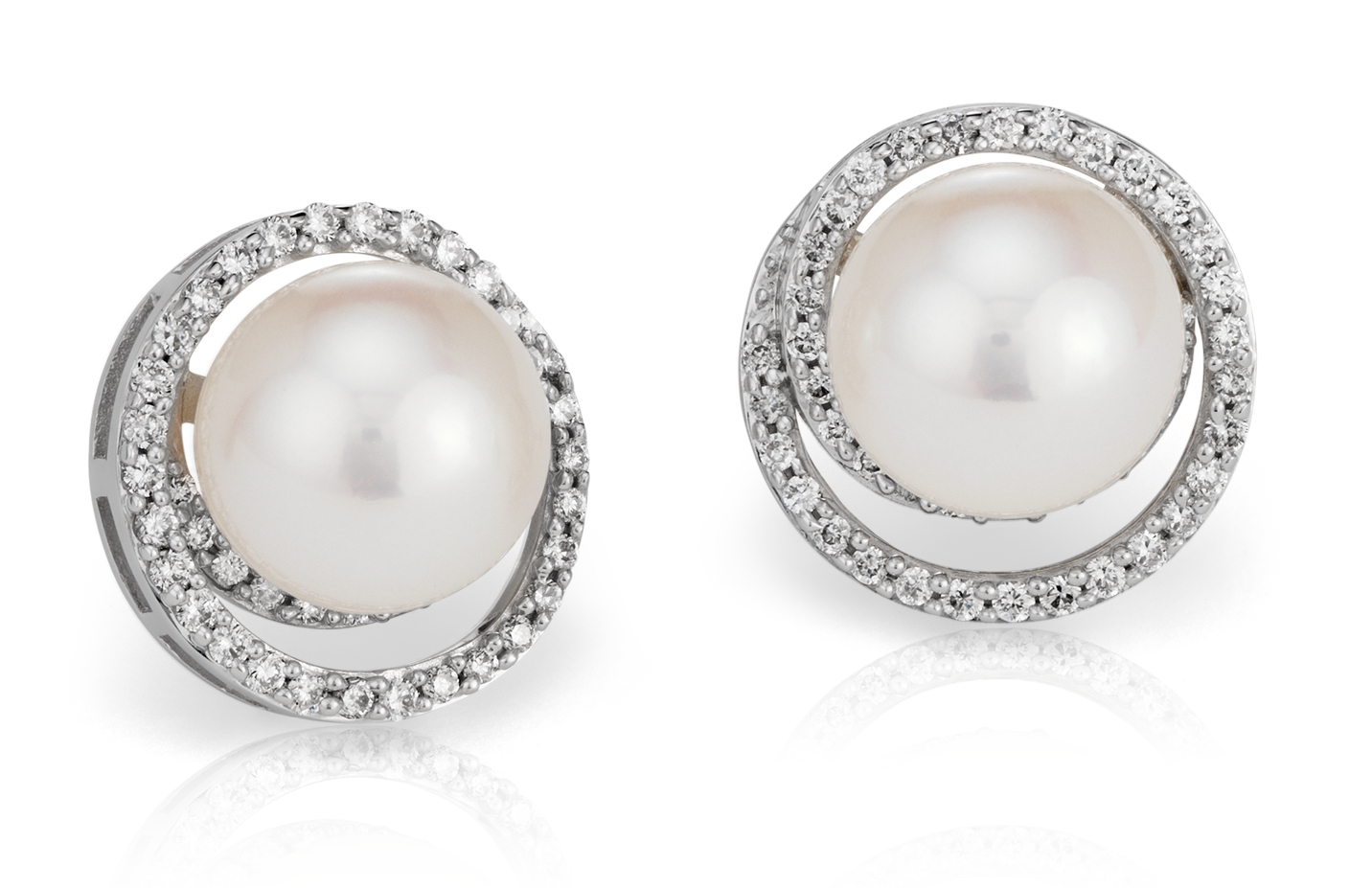 Freshwater Cultured Pearl and Diamond Swirl Earrings in 14k White Gold
