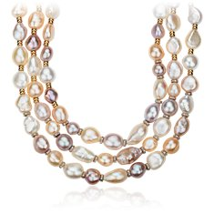 Pearl and Diamond Three Row Bib Necklace in 18k Yellow Gold