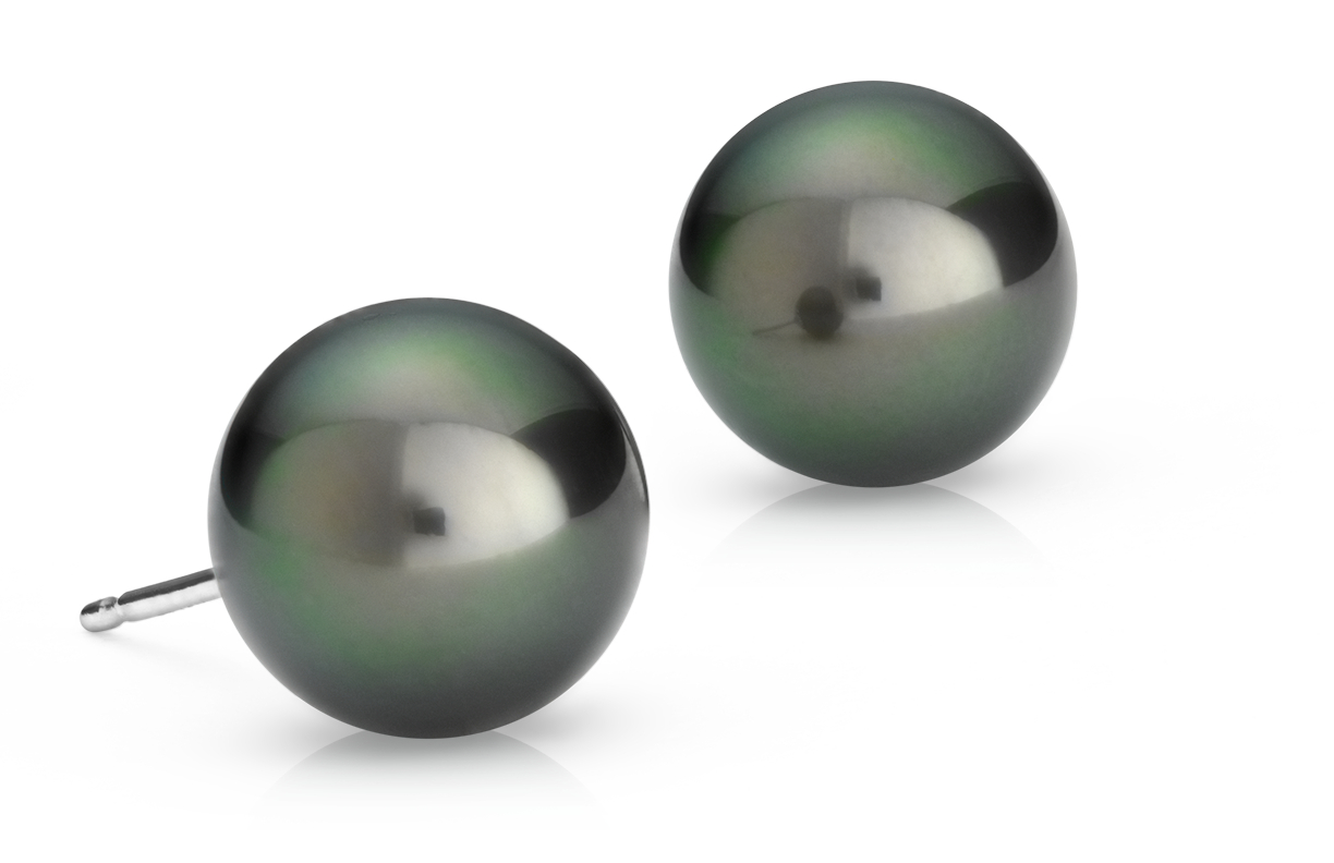 Tahitian Cultured Pearl Stud Earrings in 18k White Gold (9.0-9.5mm)