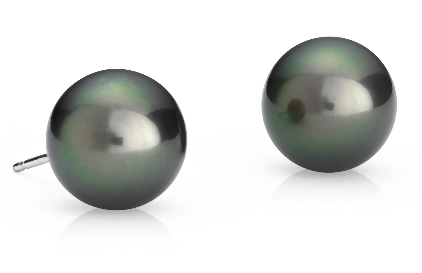 Tahitian Cultured Pearl Stud Earrings in 18k White Gold (10.0-10.5mm)