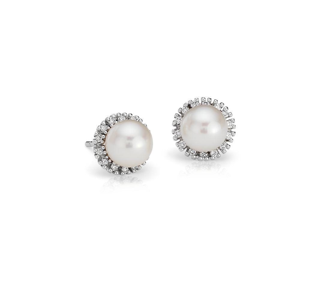 Freshwater Cultured Pearl and Diamond Halo Stud Earrings in 14k White Gold