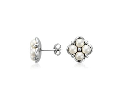 Freshwater Pearl Cluster Earrings in 14k White Gold - Details :  flower accessory silver womens
