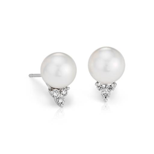 South Sea Cultured Pearl and Diamond Stud Earrings in 18k White Gold