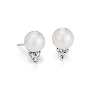 South Sea Cultured Pearl and Diamond Stud Earrings in 18k White Gold (9mm)