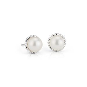 NEW Freshwater Cultured Pearl Rope Earrings in Sterling Silver (7mm)