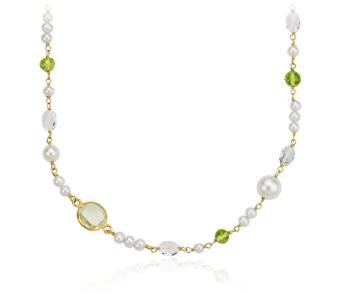 Freshwater Cultured Pearl, Green Quartz, and White Quartz Necklace in Gold Vermeil