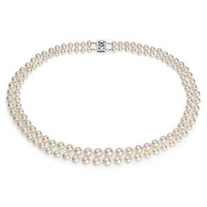 Collar de dos vueltas de perlas graduadas cultivadas de agua dulce con oro blanco de 14 k (5,5-9,5mm)