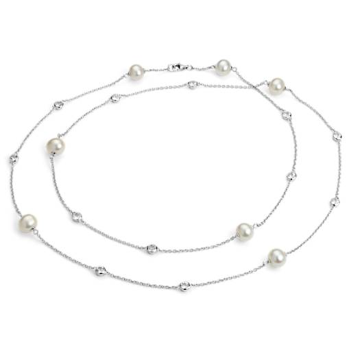 Freshwater Cultured Pearl Necklace with White Topaz in Sterling Silver - 37""