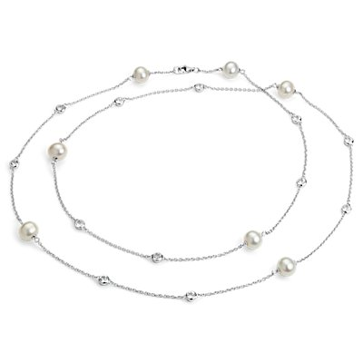 "Freshwater Cultured Pearl Necklace with White Topaz in Sterling Silver - 37"" (8.5mm)"