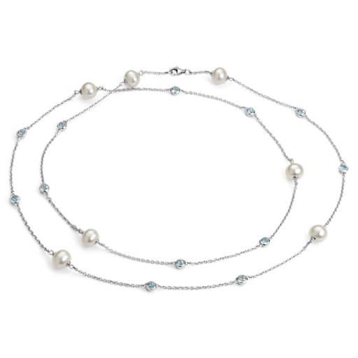 NEW Freshwater Cultured Pearl Necklace with Blue Topaz in Sterling Silver  - 37