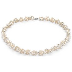 Freshwater Cultured Pearl Woven Necklace with 14k White Gold